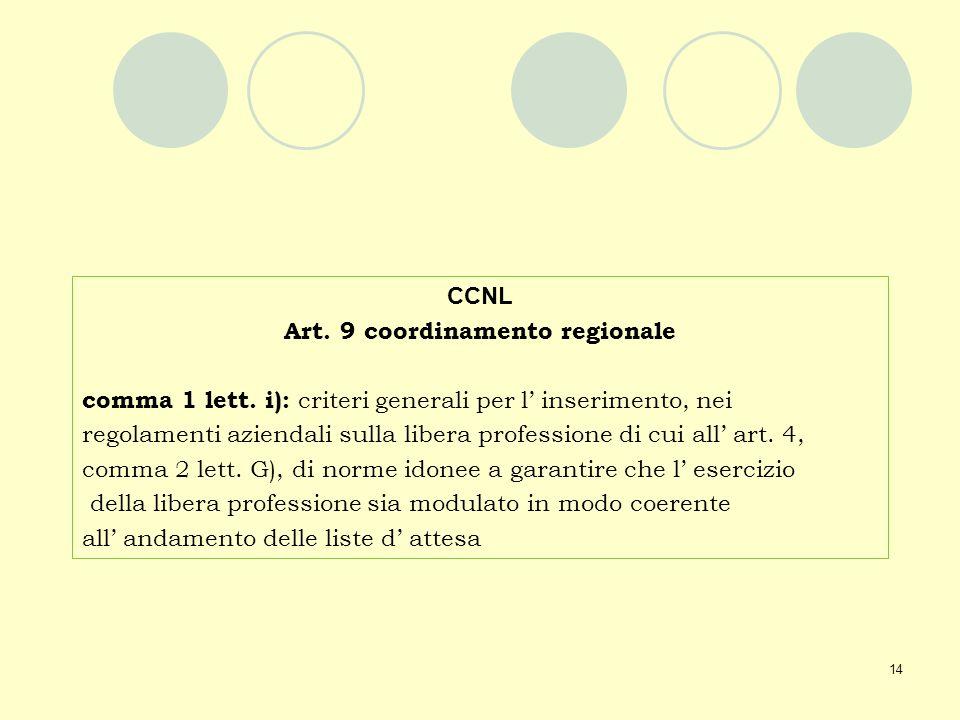 Art. 9 coordinamento regionale