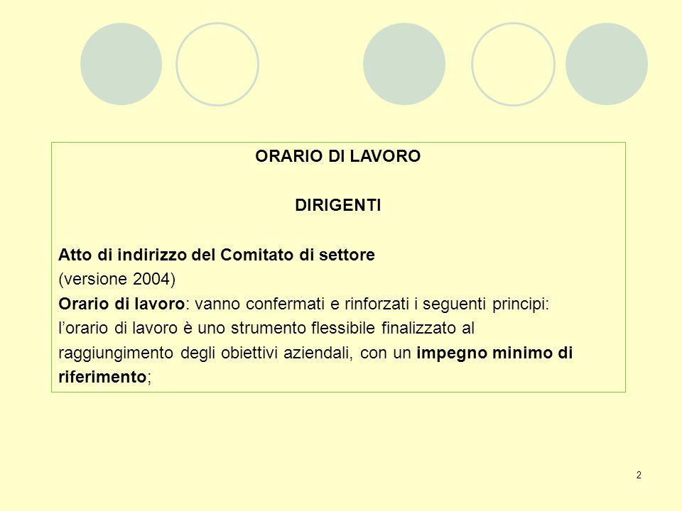ORARIO DI LAVORO DIRIGENTI. Atto di indirizzo del Comitato di settore. (versione 2004)