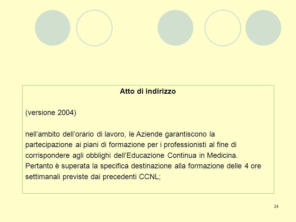 Atto di indirizzo (versione 2004) nell'ambito dell'orario di lavoro, le Aziende garantiscono la.