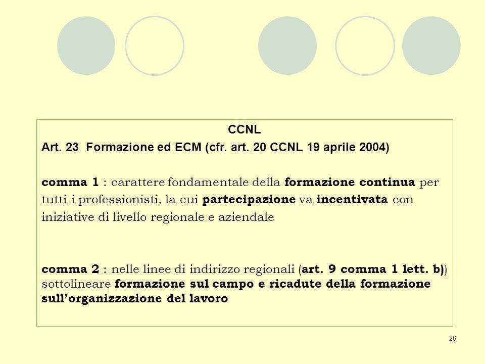 CCNL Art. 23 Formazione ed ECM (cfr. art. 20 CCNL 19 aprile 2004) comma 1 : carattere fondamentale della formazione continua per.