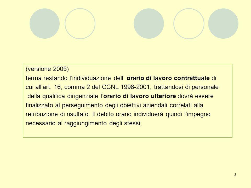 (versione 2005) ferma restando l'individuazione dell' orario di lavoro contrattuale di.