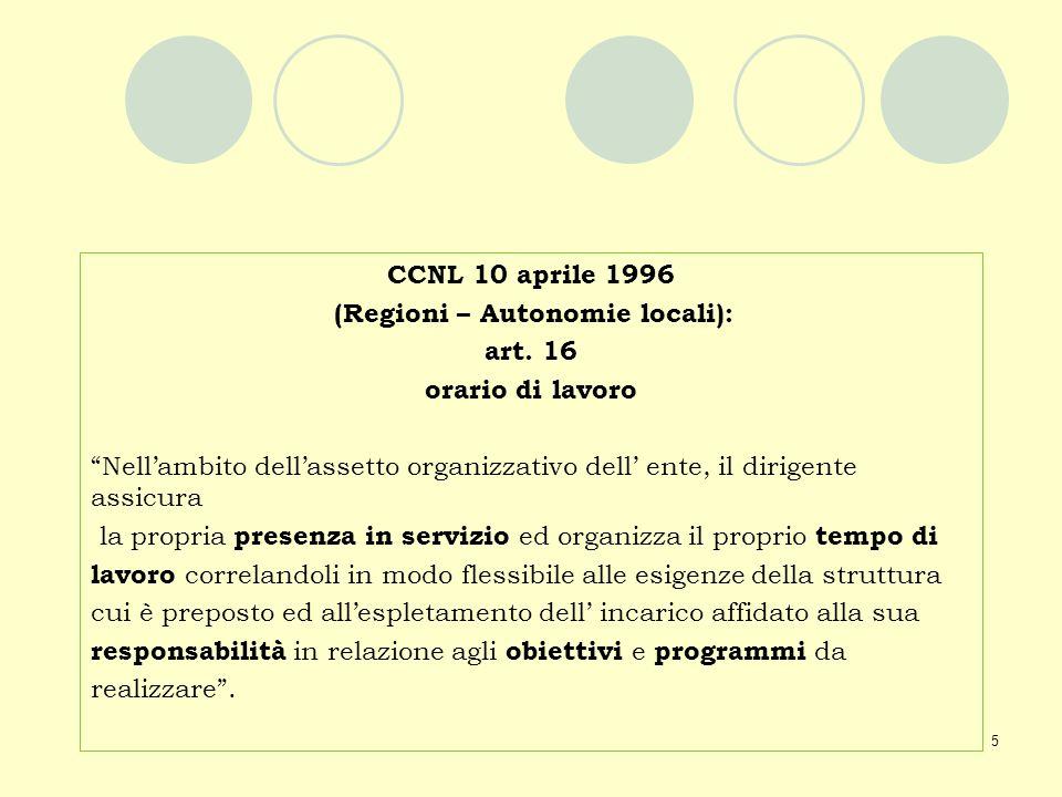 CCNL 10 aprile 1996 (Regioni – Autonomie locali): art. 16. orario di lavoro.