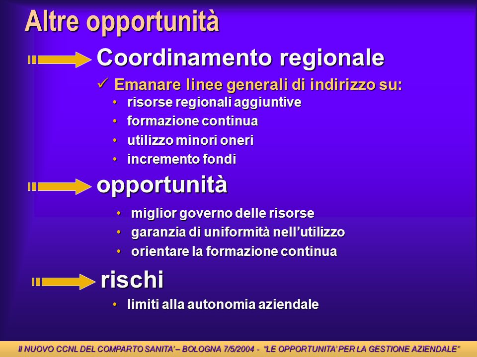 Altre opportunità Coordinamento regionale opportunità rischi