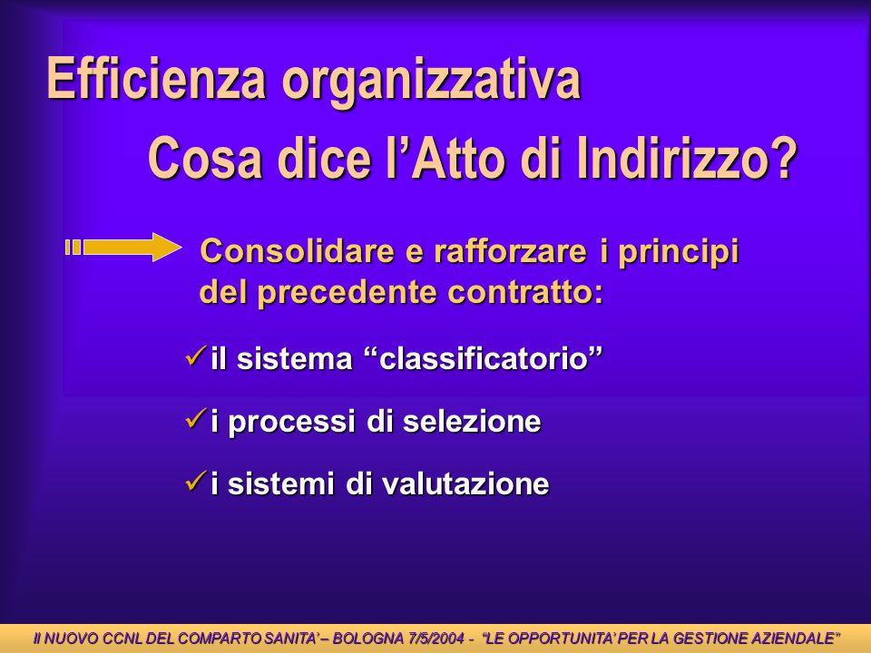 Efficienza organizzativa Cosa dice l'Atto di Indirizzo