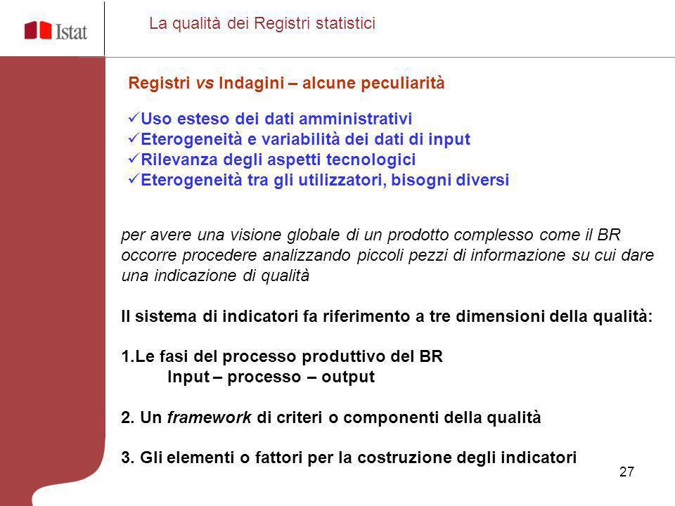 La qualità dei Registri statistici