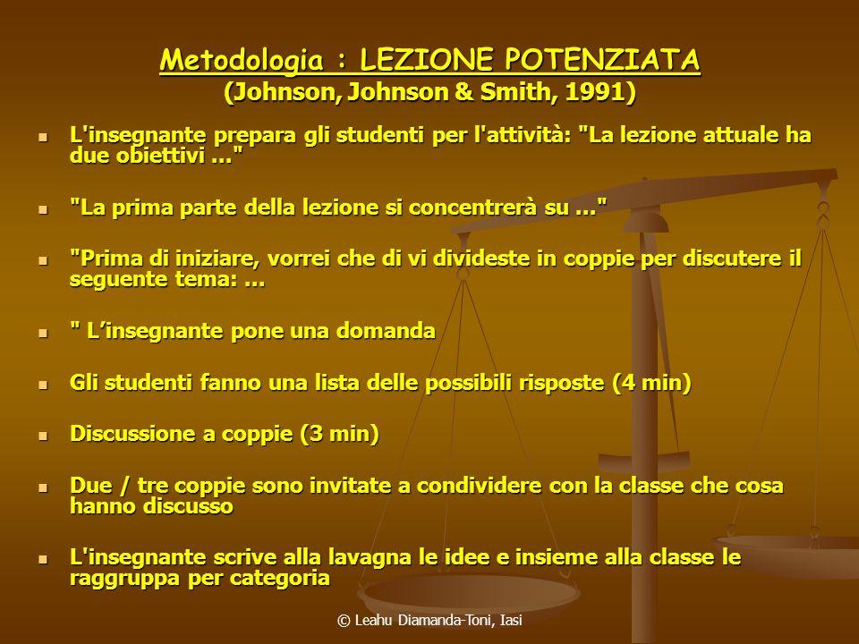 Metodologia : LEZIONE POTENZIATA (Johnson, Johnson & Smith, 1991)