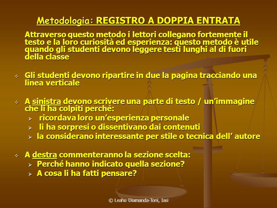 Metodologia: REGISTRO A DOPPIA ENTRATA