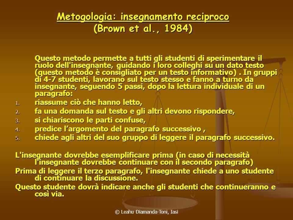 Metogologia: insegnamento reciproco (Brown et al., 1984)