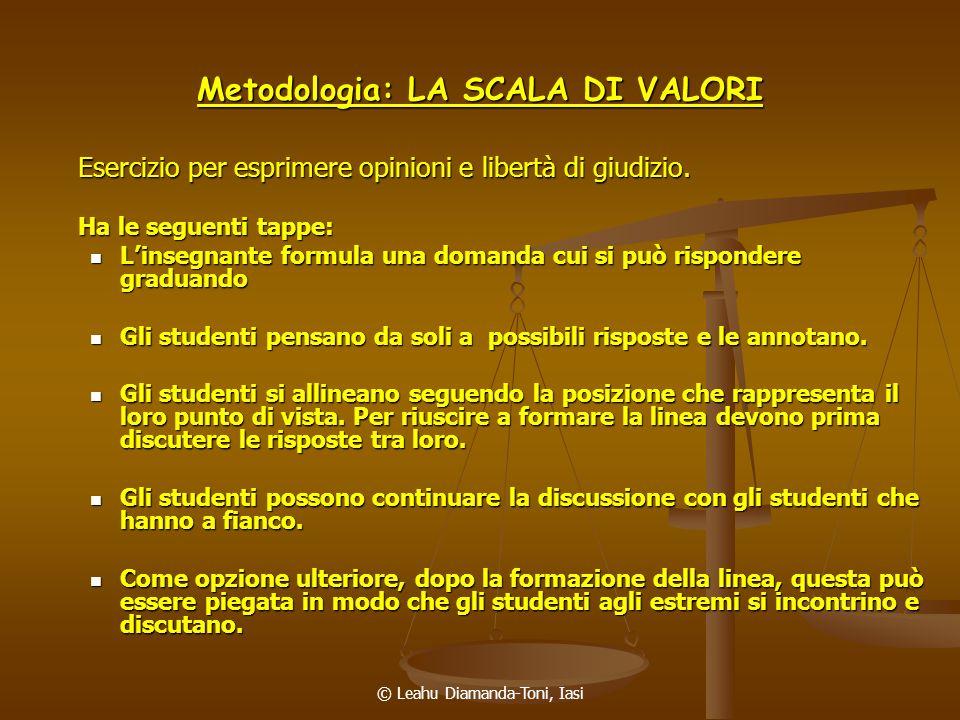 Metodologia: LA SCALA DI VALORI