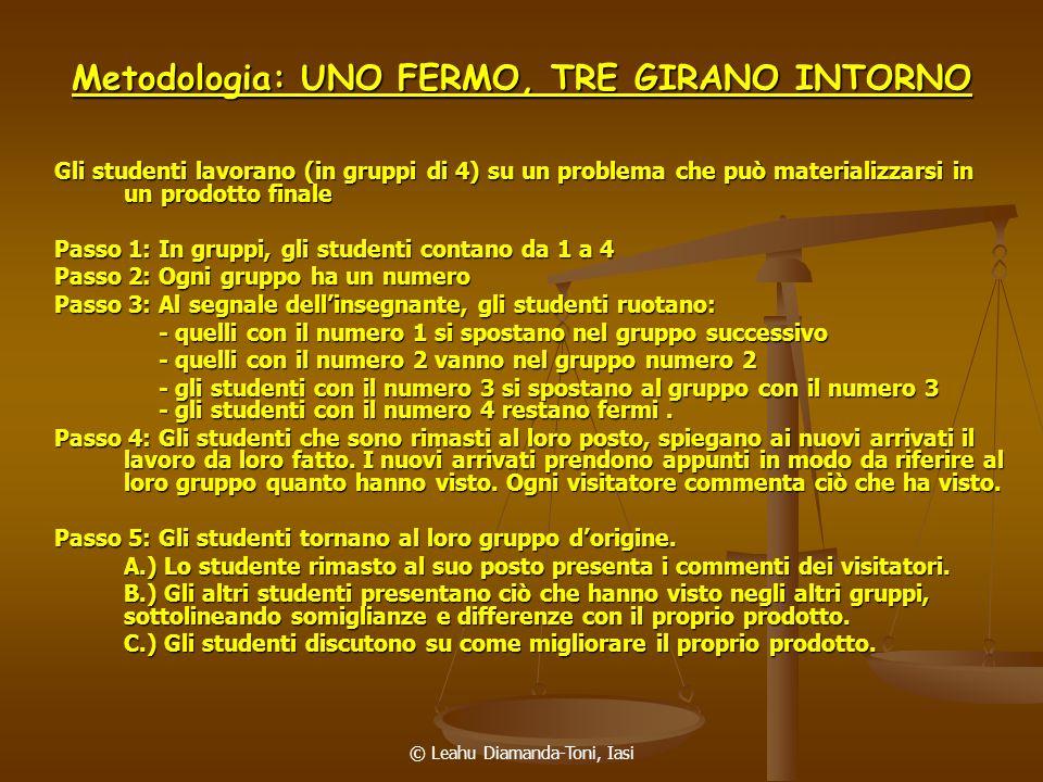 Metodologia: UNO FERMO, TRE GIRANO INTORNO