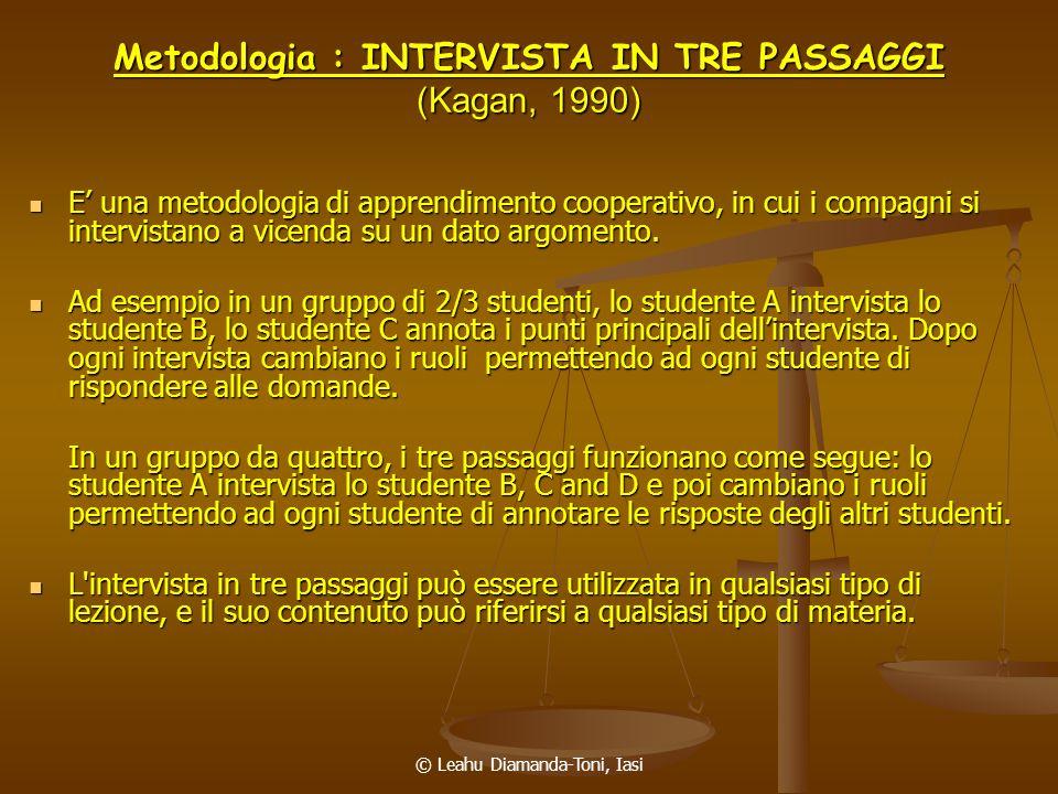 Metodologia : INTERVISTA IN TRE PASSAGGI (Kagan, 1990)