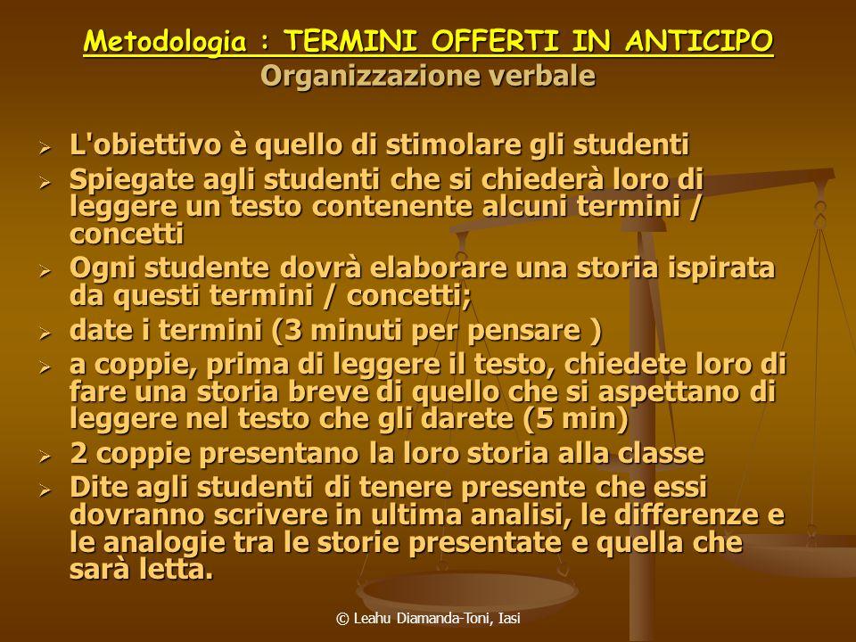 Metodologia : TERMINI OFFERTI IN ANTICIPO Organizzazione verbale