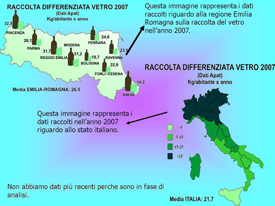 Questa immagine rappresenta i dati raccolti riguardo alla regione Emilia Romagna sulla raccolta del vetro nell'anno 2007.