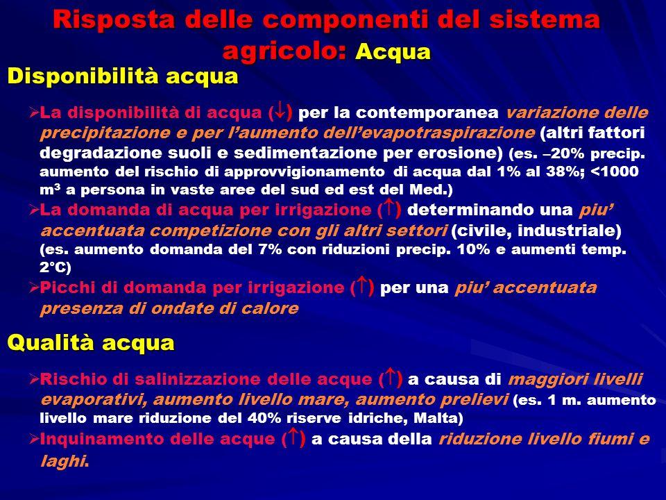 Risposta delle componenti del sistema agricolo: Acqua