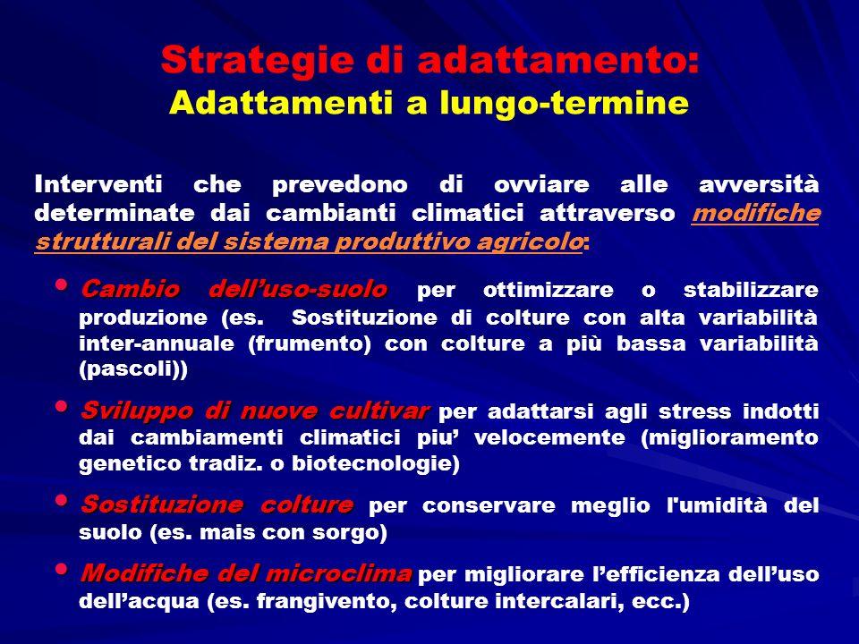 Strategie di adattamento: Adattamenti a lungo-termine