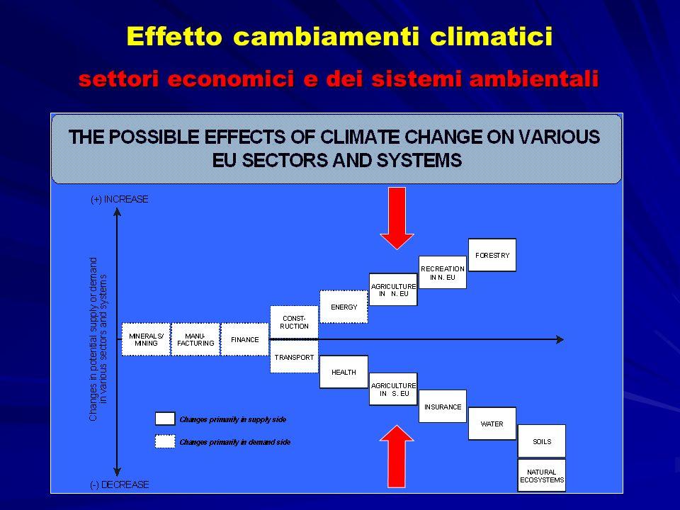 settori economici e dei sistemi ambientali