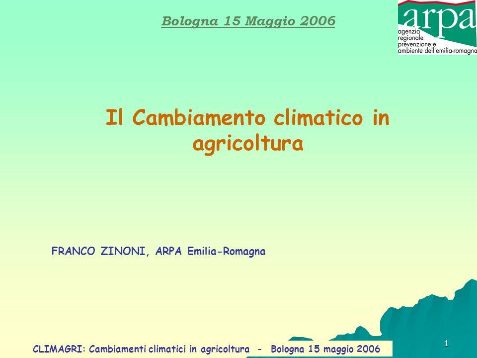 Il Cambiamento climatico in agricoltura