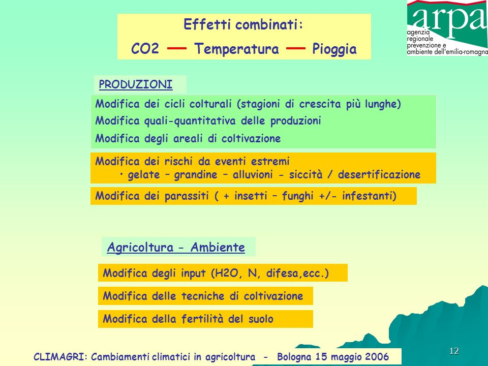 CO2 Temperatura Pioggia