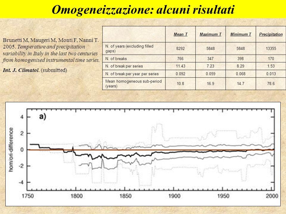 Omogeneizzazione: alcuni risultati