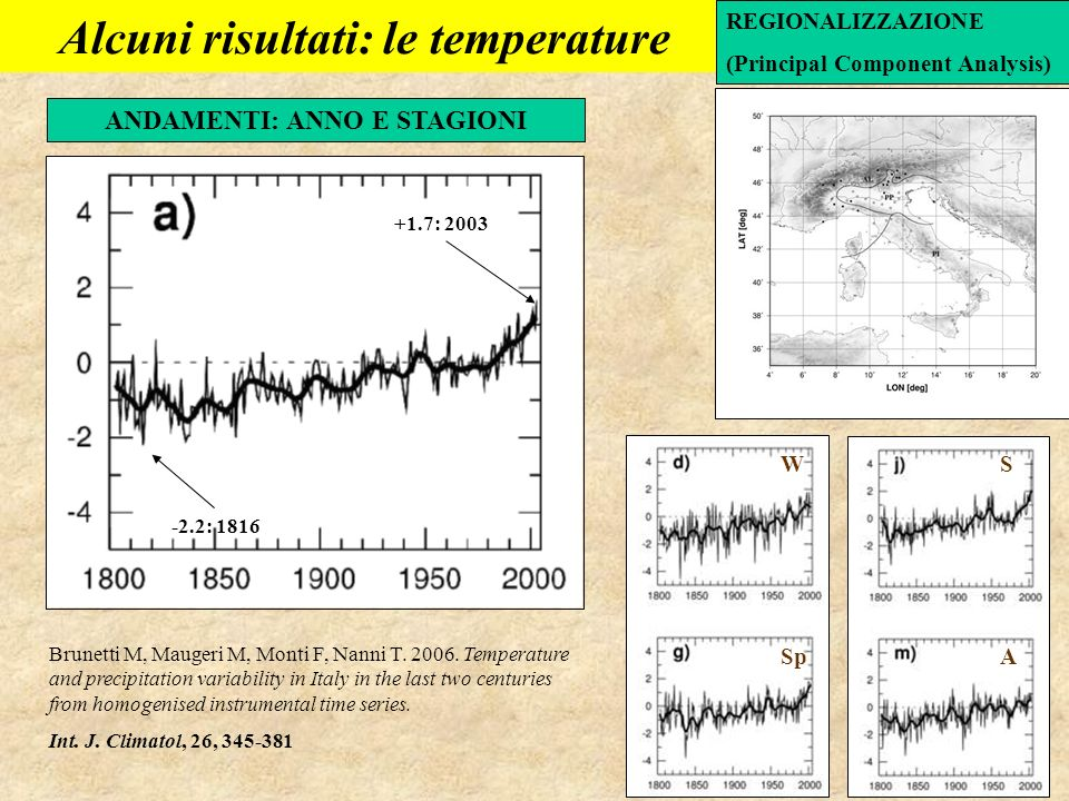 Alcuni risultati: le temperature ANDAMENTI: ANNO E STAGIONI