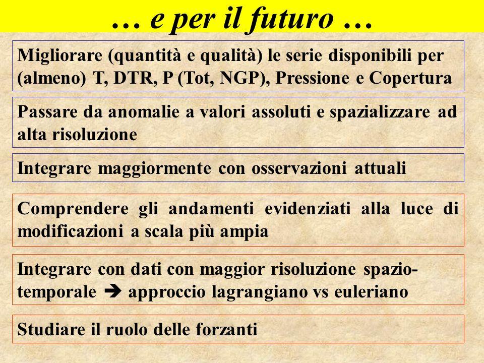 … e per il futuro … Migliorare (quantità e qualità) le serie disponibili per (almeno) T, DTR, P (Tot, NGP), Pressione e Copertura.