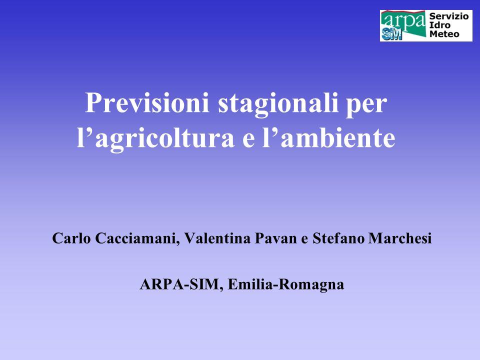 Previsioni stagionali per l'agricoltura e l'ambiente