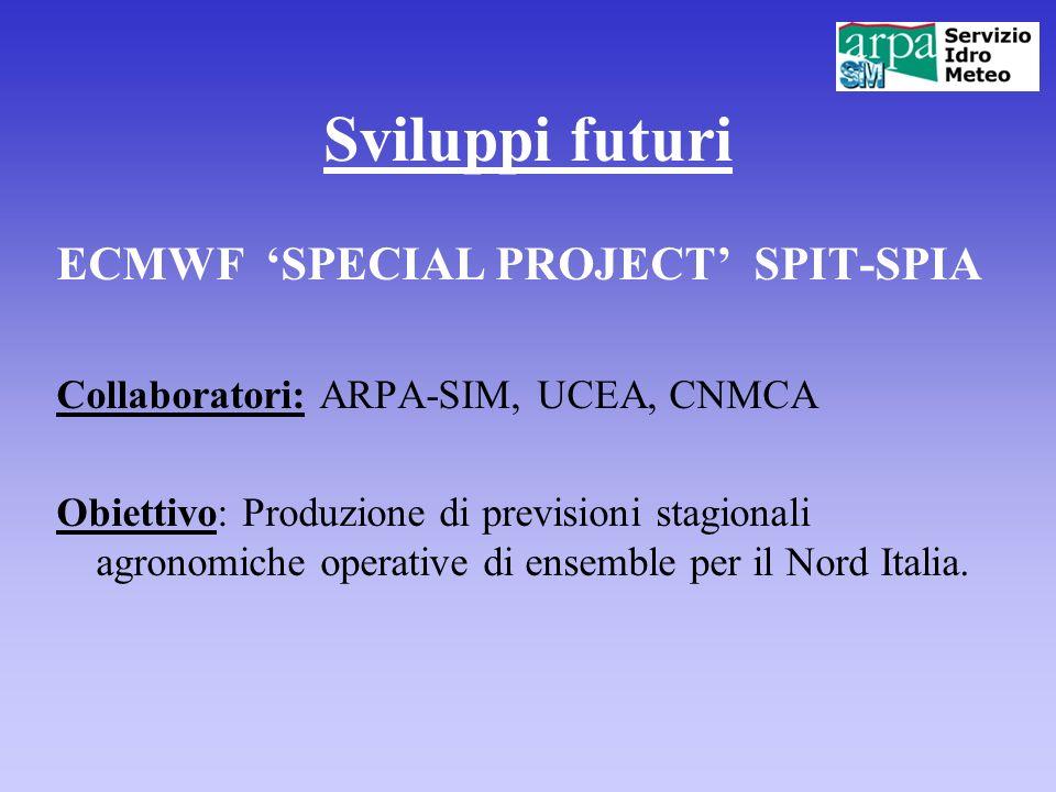 Sviluppi futuri ECMWF 'SPECIAL PROJECT' SPIT-SPIA