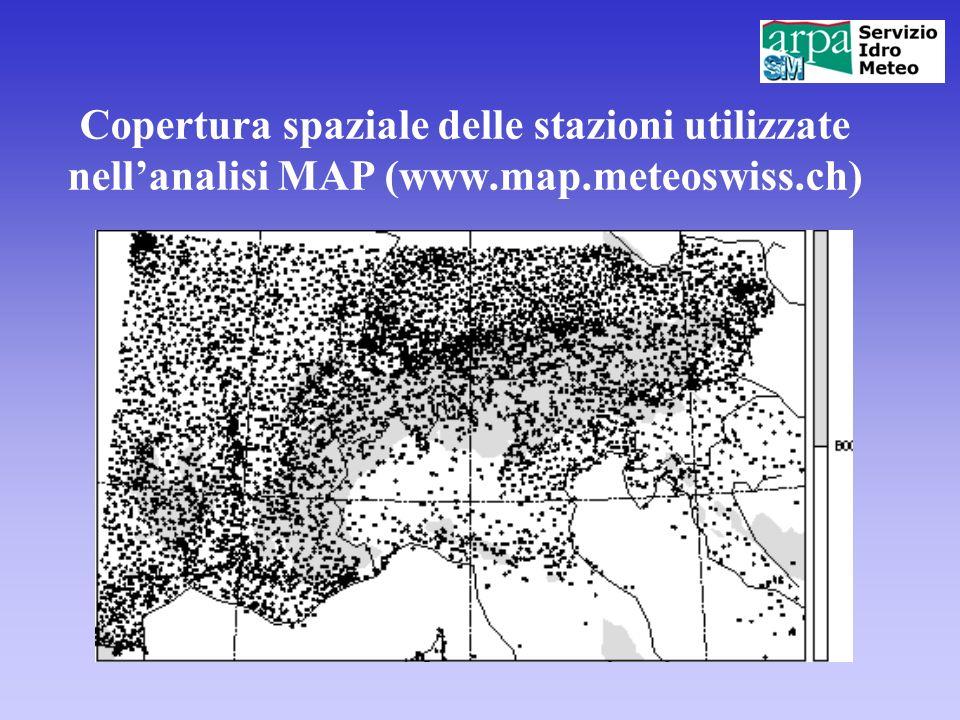 Copertura spaziale delle stazioni utilizzate nell'analisi MAP (www.map.meteoswiss.ch)