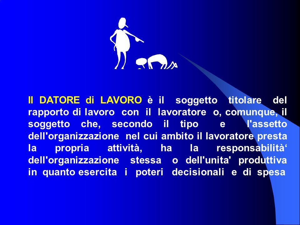 Il DATORE di LAVORO è il soggetto titolare del rapporto di lavoro con il lavoratore o, comunque, il soggetto che, secondo il tipo e l assetto dell organizzazione nel cui ambito il lavoratore presta la propria attività, ha la responsabilità' dell organizzazione stessa o dell unita produttiva in quanto esercita i poteri decisionali e di spesa