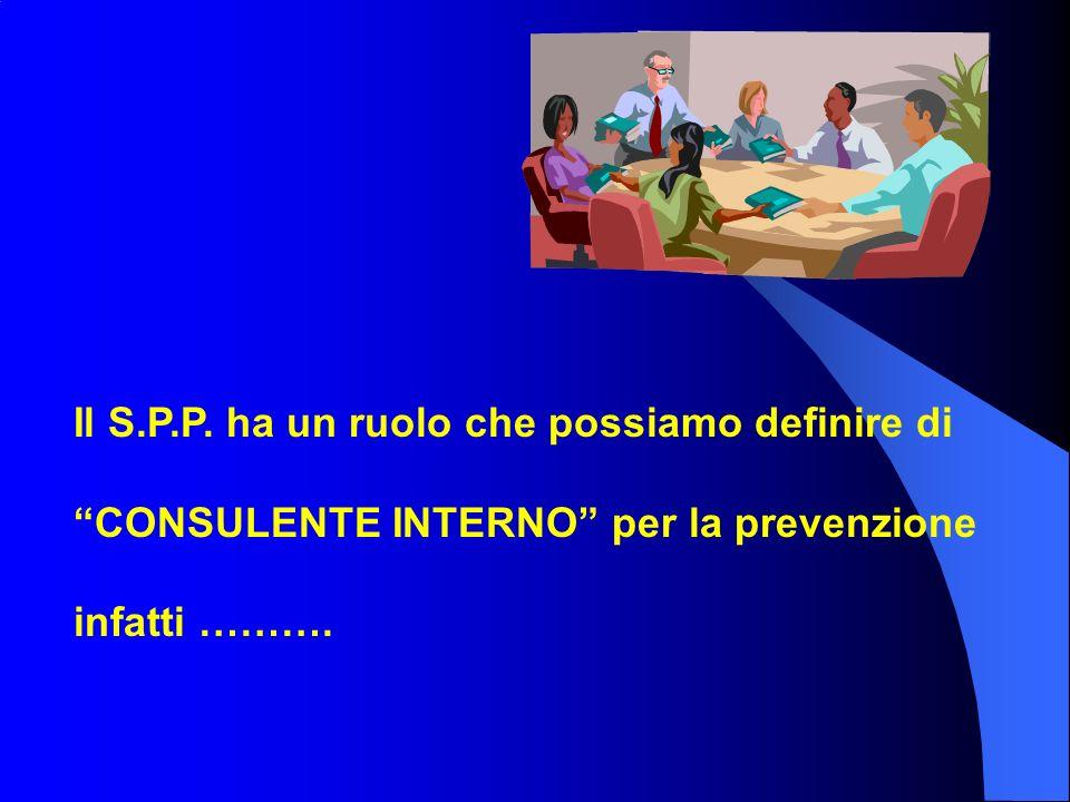 Il S.P.P. ha un ruolo che possiamo definire di CONSULENTE INTERNO per la prevenzione