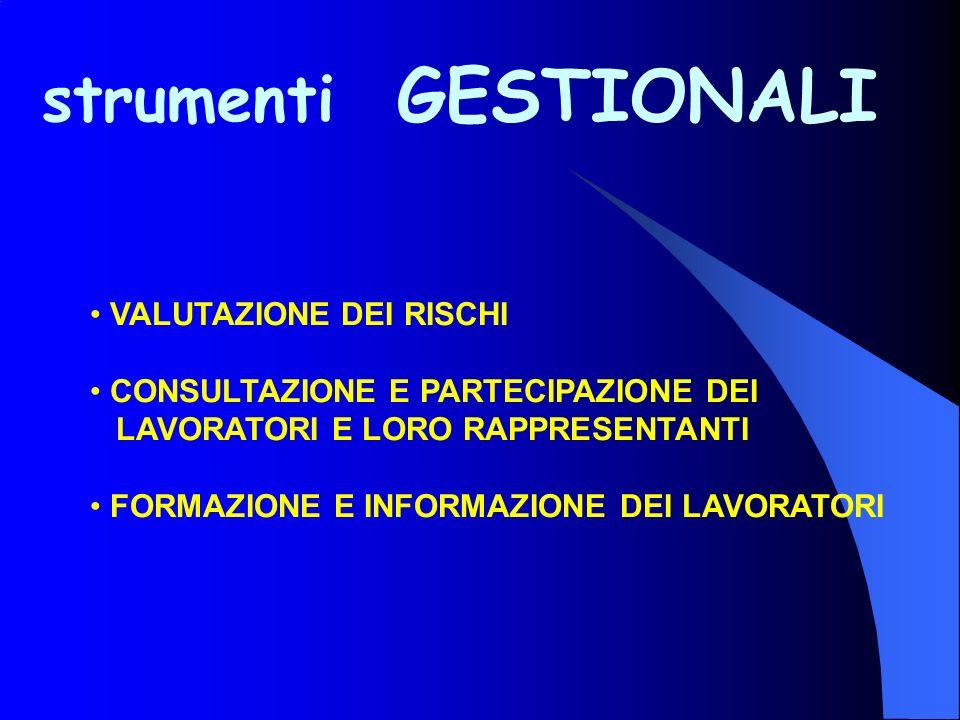 strumenti GESTIONALI VALUTAZIONE DEI RISCHI