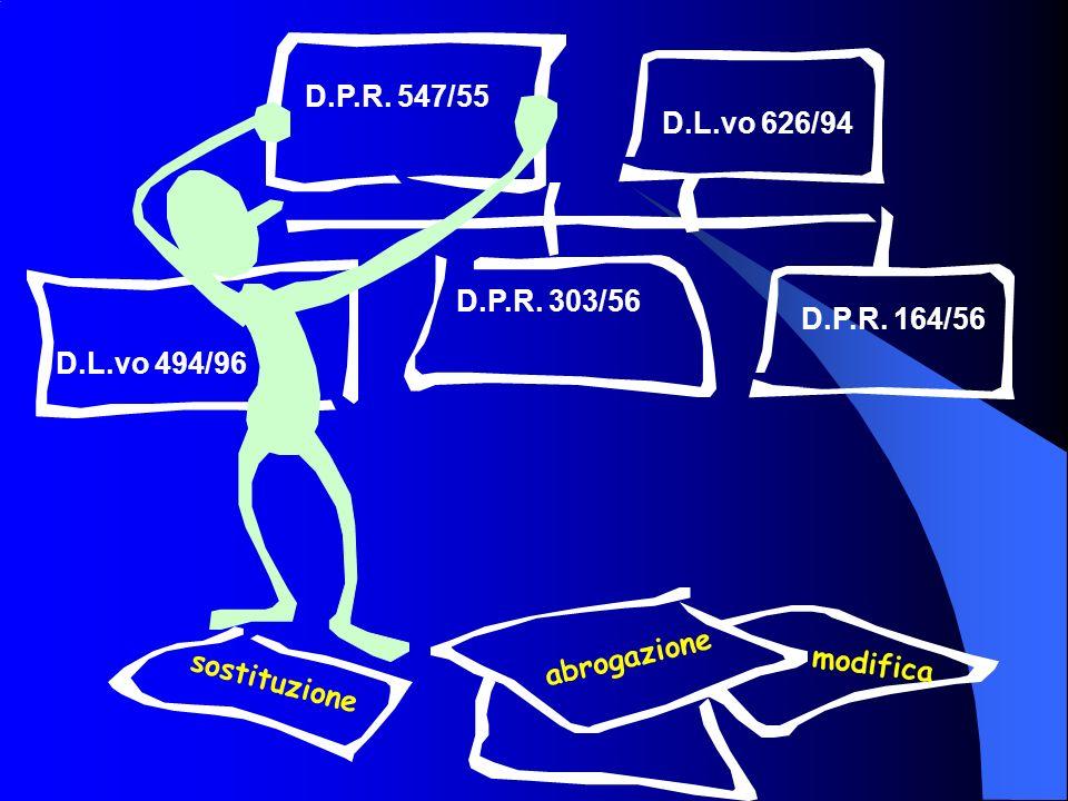 D.L.vo 626/94 D.P.R. 547/55. D.P.R. 303/56. D.P.R. 164/56. D.L.vo 494/96. abrogazione. modifica.