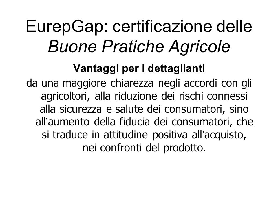 EurepGap: certificazione delle Buone Pratiche Agricole