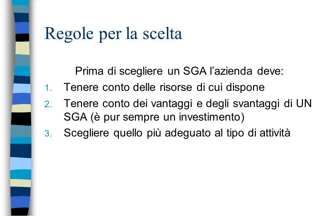 Prima di scegliere un SGA l'azienda deve: