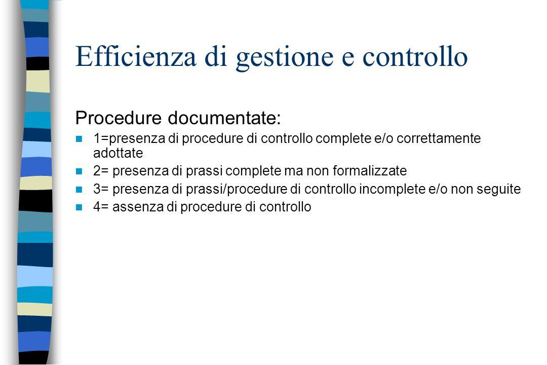 Efficienza di gestione e controllo