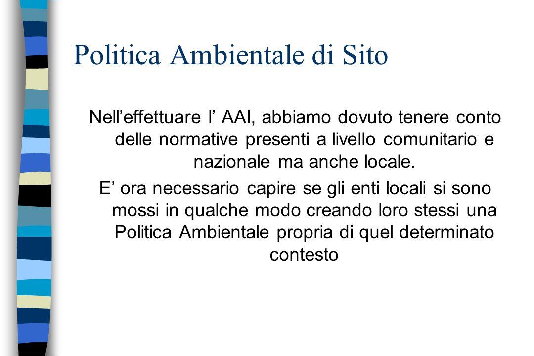 Politica Ambientale di Sito