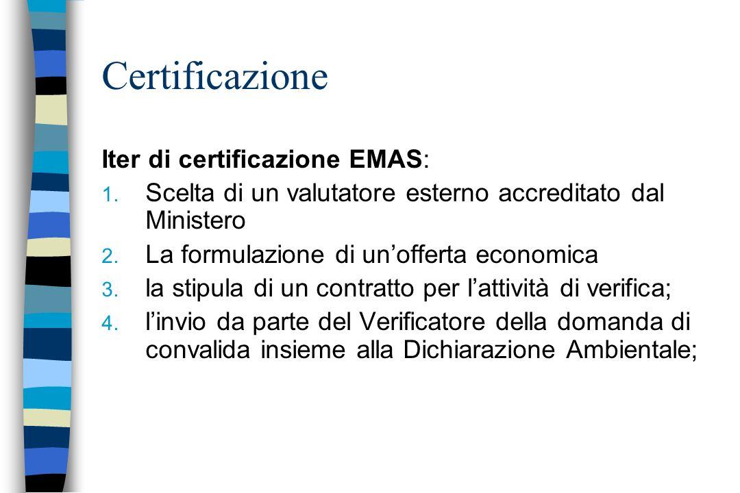 Certificazione Iter di certificazione EMAS: