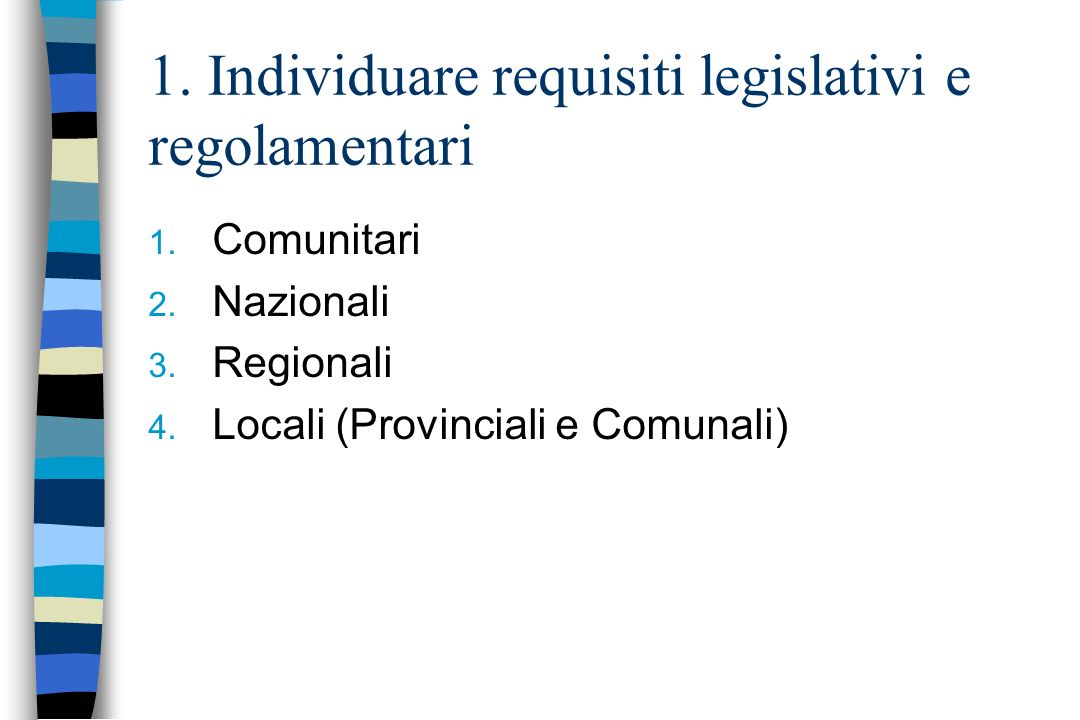 1. Individuare requisiti legislativi e regolamentari