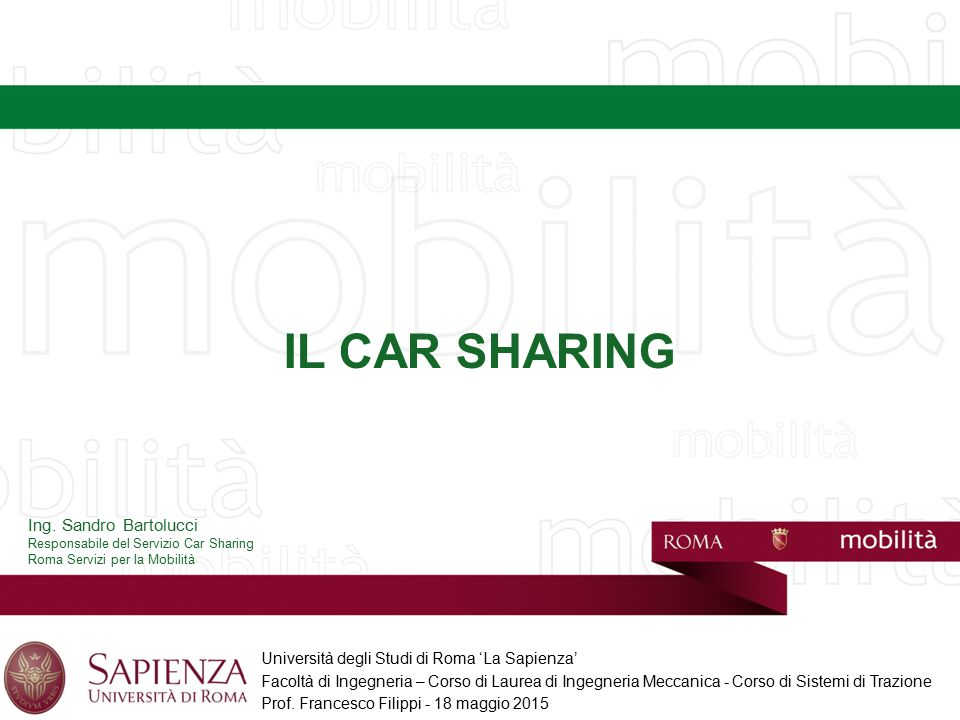 IL CAR SHARING Ing. Sandro Bartolucci