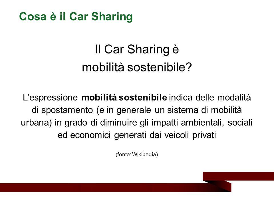 Il Car Sharing è mobilità sostenibile Cosa è il Car Sharing
