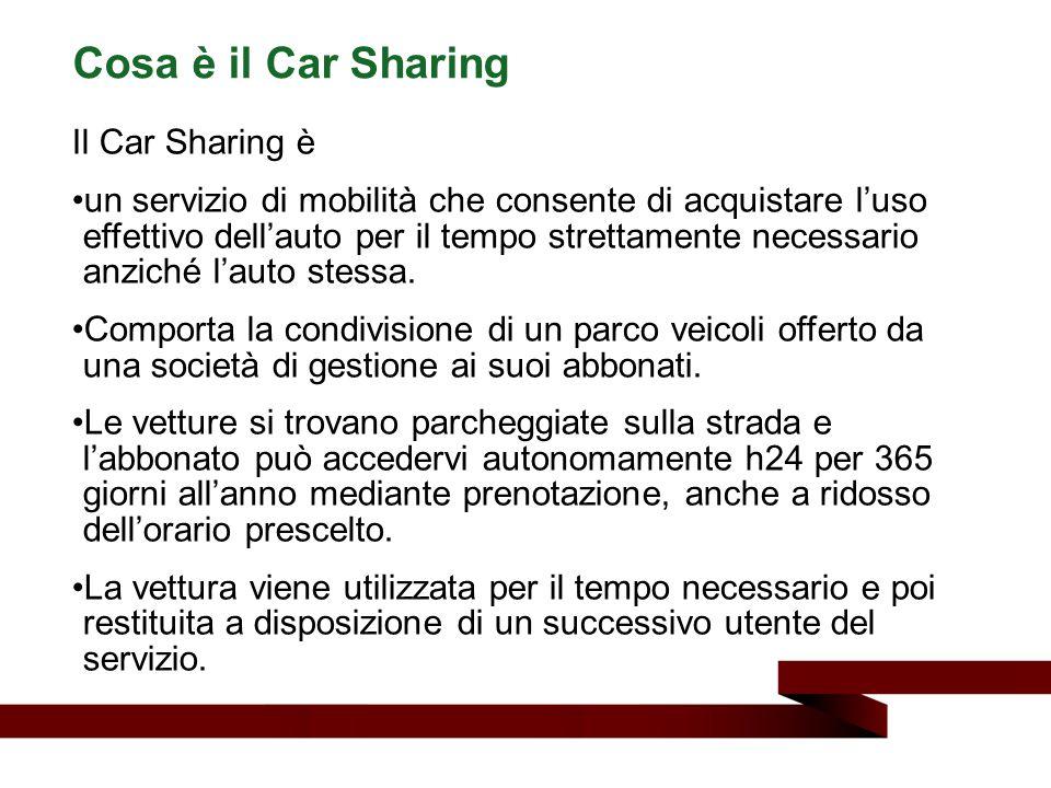 Cosa è il Car Sharing Il Car Sharing è