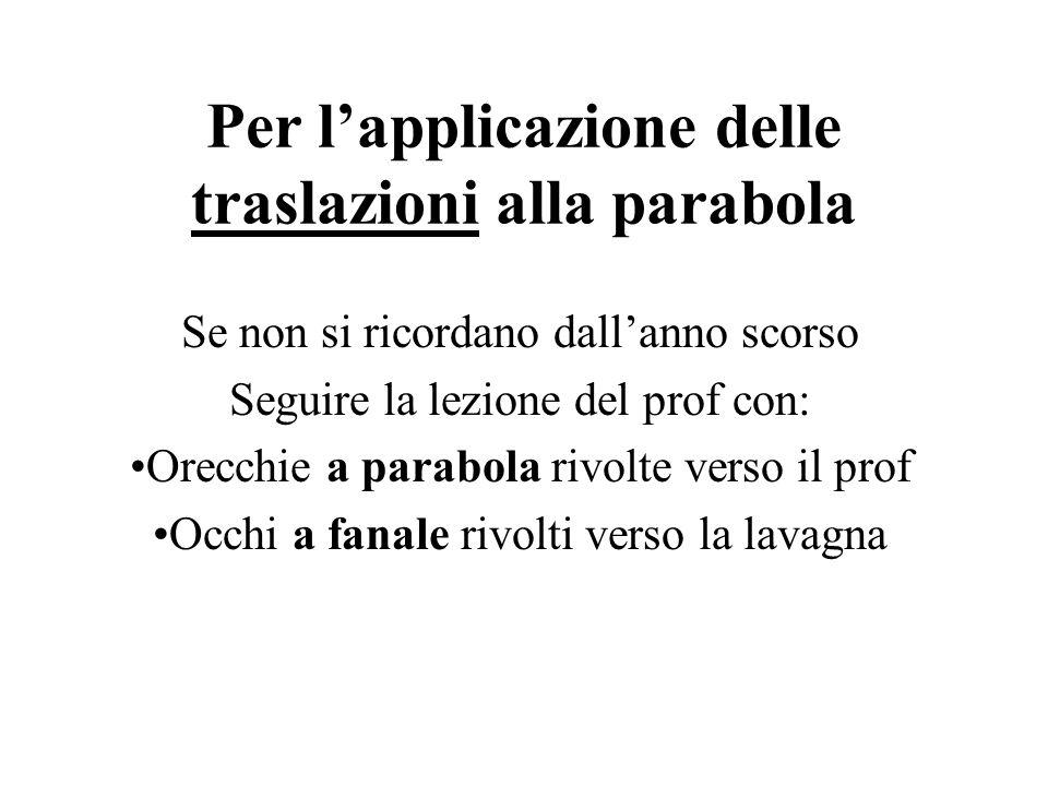 Per l'applicazione delle traslazioni alla parabola