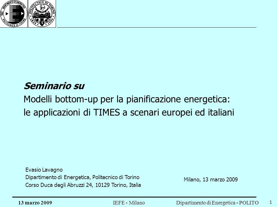 Modelli bottom-up per la pianificazione energetica: