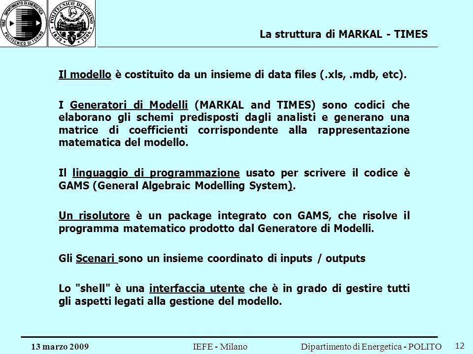 La struttura di MARKAL - TIMES