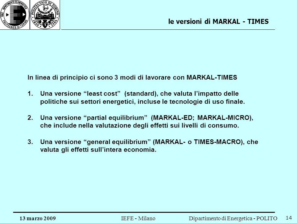 le versioni di MARKAL - TIMES