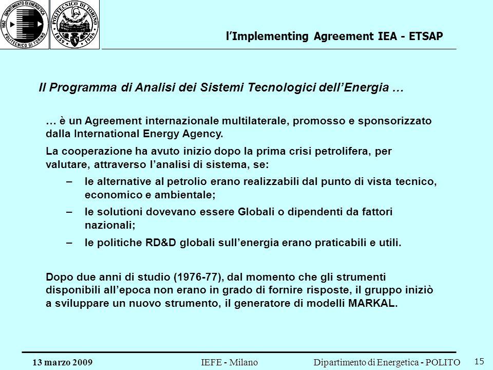 Il Programma di Analisi dei Sistemi Tecnologici dell'Energia …