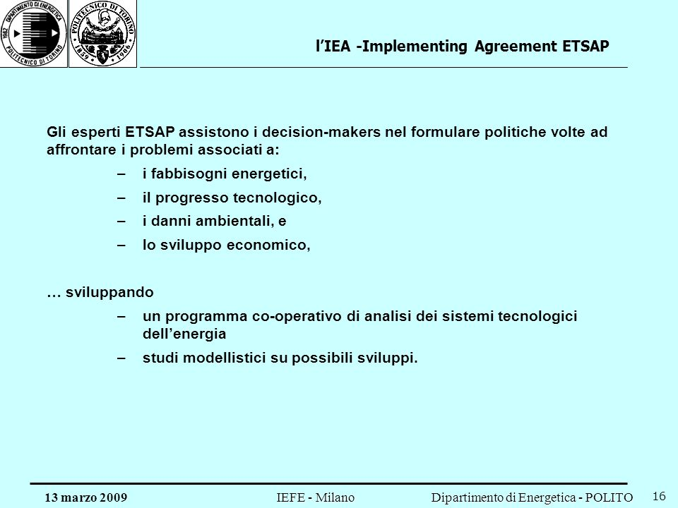 l'IEA -Implementing Agreement ETSAP