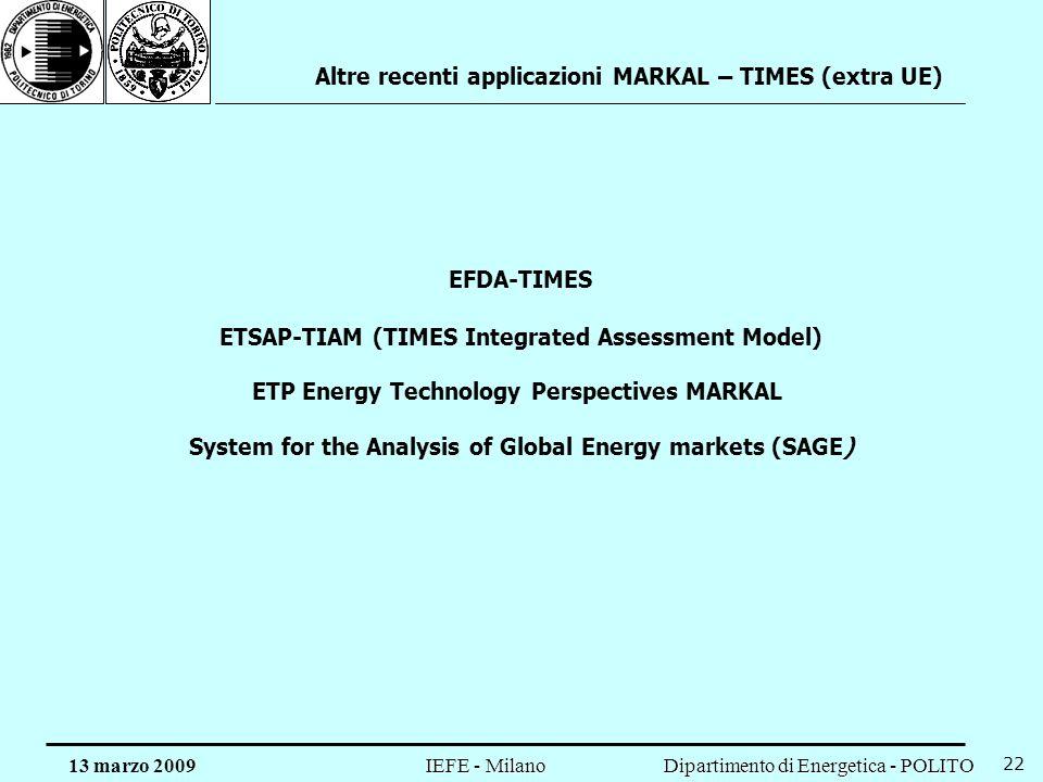 Altre recenti applicazioni MARKAL – TIMES (extra UE)