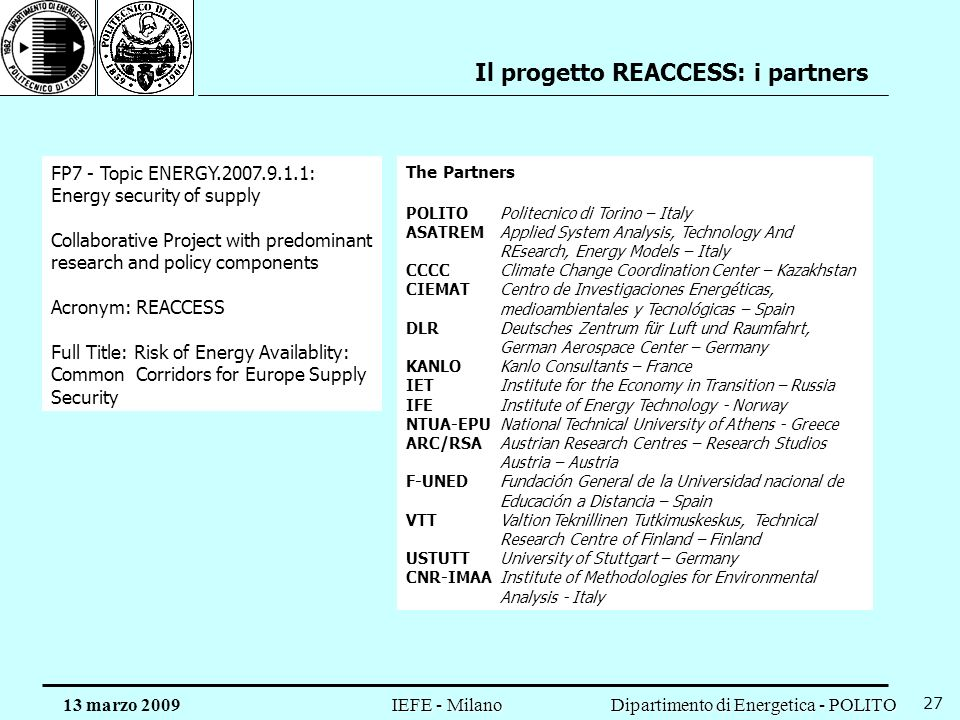 Il progetto REACCESS: i partners