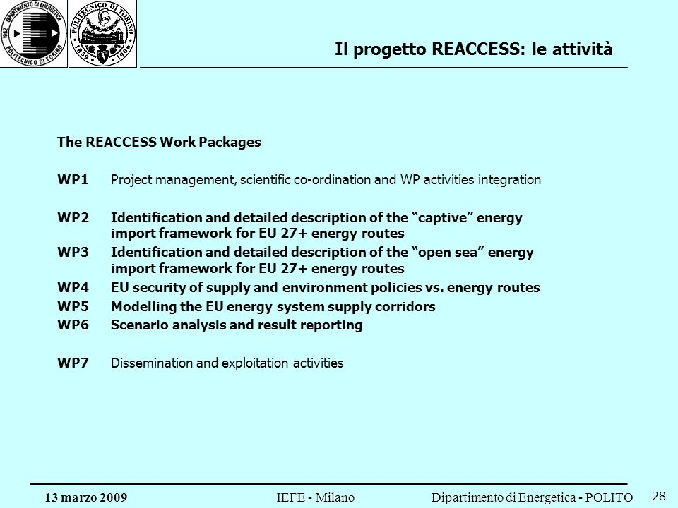 Il progetto REACCESS: le attività